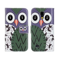 New Cute Cartoon Owl Stand Wallet Leather Case for Samsung Galaxy S4 Mini i9190 Cover Phone Bag Pouch Card Holder