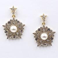 New 2015 women statement unique earrings fashion crystal star pearl stud Earrings for women jewelry wholesale