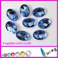 Lt Sapphire color Super shiny Egg Oval Shape Crystal Fancy stones 100pcs 10x14mm Point back rhinestones jewelry strass Glass
