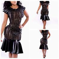 Celebrity Women Clothing Summer Dress Short Sleeve Black PU Leather Bodycon Dress New Fashion Hollow Out Women Bandage Dress