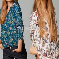 2014 New Autumn Women 2 Colors Floral Prints Long Sleeve Shirt Ladies Casual Loose Plus Size Pullover Cotton Blouse