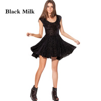 Evil Cheerleader Velvet Dress Short Sleeve Dresses O-neck Black Milk Women's Clothing Vestidos Casual Free Shipping Flower Print