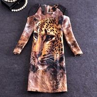 vestidos Women autumn winter New Dress 2015 vintage Elegant Office casual Pu Leather Patchwork Leopard Print Dress SY2792