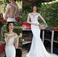Romantic Brand vestido de noiva Scoop Cap Sleeve Lace See Through Back Floor Length Long Lace Mermaid Wedding Dresses 2015