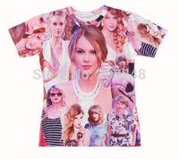 2015 New high quality Women's Men's Short Sleeve T shirt Fashion singer_Taylor Print 3D t shirt S M L XL XXL