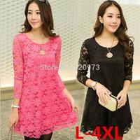 L-4XL plus size dress2015 new arrival korean style long sleeve casual black red crochet lace women dress free shipping