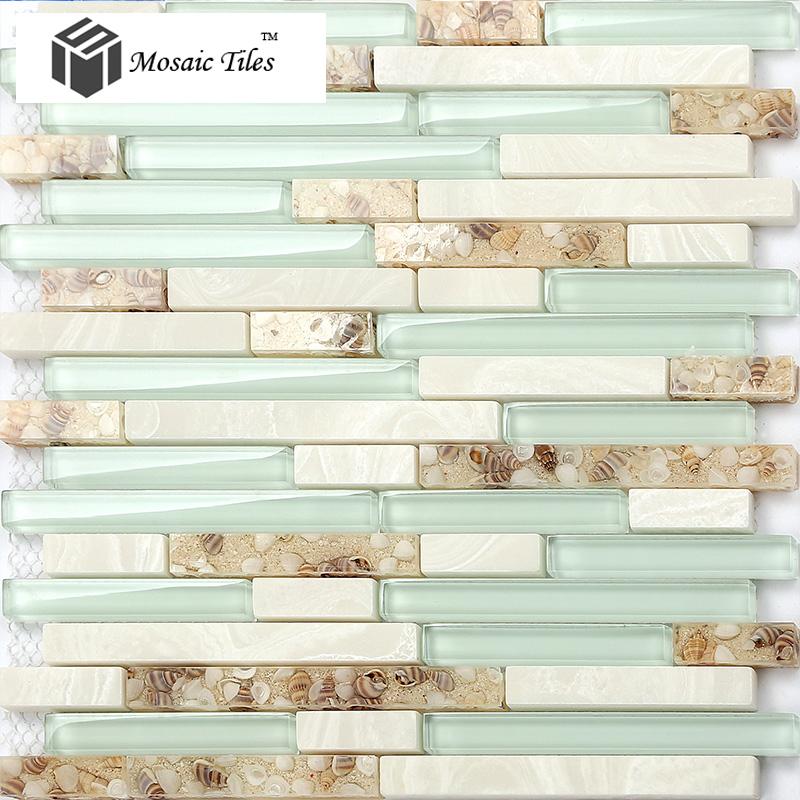 Beach style mother of pearl tile resin glass tile aqua white stone marble tile kitchen backsplash deco bathroom wall art 11SF(China (Mainland))