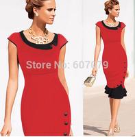 Free hkpost 2015 Women Fashion Vintage Dress Buisness Elegant Knee-Length Button Tunic Evening Party Bodycon Sheath Dress 011