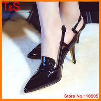 Natural Real Leather High Heels Pointed Toe Genuine Leather Slingbacks Fashion Pumps Dress Shoes Black Sliver MVA0B
