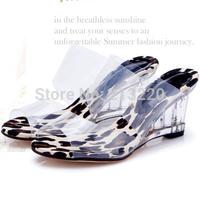 EUR 34-39 Factory Price PVC up leopard high quality fashion 8cm wedge heel transparent sandals dress casual shoes lady's sandals