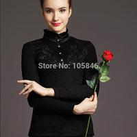 2015 New Arrival Autumn Winter European Style Fashion Women White Stand Collar Ruffles Button Lace Plus Velvet Warm Basic Shirt