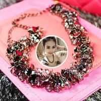 South Korea fashion 2015 grey metal disc knitting short necklace