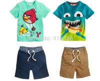 ST109 2014 Free Shipping new baby boys clothes set  Children Suits summer clothing set suit cotton T + short boys suits retail