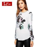 ECW NEW 2015 Women Shirts Fashion ChiffonLoose Flower print Spring Women Blouse Roupas Femininas Casual Shirts