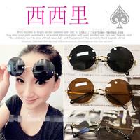 Frameless 2014 ! star style gold circle glasses black prince mirror sunglasses
