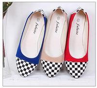 Spring autumn color block all-match flannelet women's flats comfortable quality check plaid michaeled shoes plus size 35-41