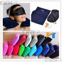 3 In 1 Travel kit Sleeping Inflatable Neck Air Pillow Eye Mask Ear Plug Kit free shipping 300sets/lot