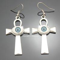Egyptian Silver Life Ankh Cross Evil Eye Dangle Earrings Wicca Pagan Fancy Dress Jewelry Free Shipping