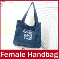 2015 New Fashion Brand Casual Women Handbag Ladies Denim Letter Velcro Hand Totes Bag For Female