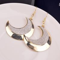 Fashion Light Cheap Gold Moon Scrub Tassel Drop Dangle Earrings Wholesale Designer Jewelry For Women 2014 New
