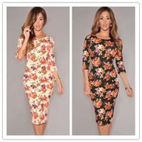 hollow back vestido leopardo Cream/Black V Back Half Sleeves Floral Midi Dress 2015 sexy summer autumn dress party female WFD021