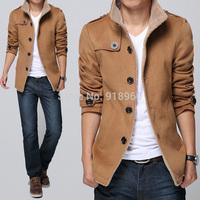 mens wool coat winter 2014 single breasted pea coat turn-down collar warm jacket peacoat,abrigo largo hombre