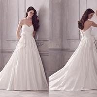Elegant Cheap Sweetheart A-Line White Ivory Wedding Dress Bridal Gown Floor Length Bridal Wedding Gown Flower Chapel Train F767