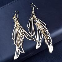 New 2015 Fashion Cheap Dangle Earring Shiny Stunning Wings Earring Gold Silver Color Drop Earrings