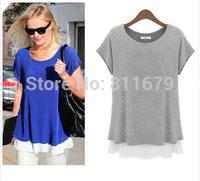 Blusas Femininas Womens Tops Fashion 2015 Short Sleeve O-Neck Plus Size Patchwork Blouses T-Shirts