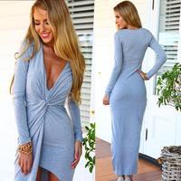 2015 Hot women dress European and American style deep V-neck long -slit Dress party dress