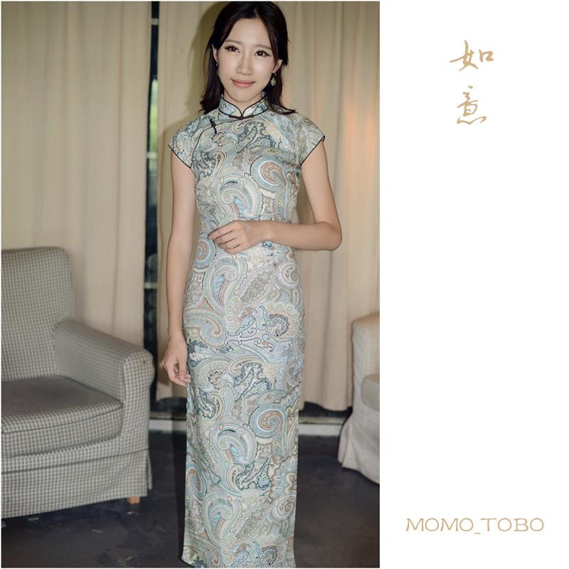 Momo cheongsam / June new retro small literary linen dress even wishful Sleeve(China (Mainland))