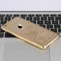 2015 New Style Laser carving plating PC Hard Cover Case For apple iphone 6 6G 4.7 inch Free Shipping