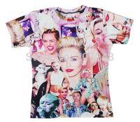2015 New high quality Women's Men's Short Sleeve T shirt Fashion  Miley 3D t shirt S M L XL XXL