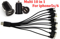 Universal Dual 2 Port USB Car Charger + Multi 10 in 1 mobile Phone USB Charger Cable For iPhone 5 iPad iPod 3.1 From MicroData