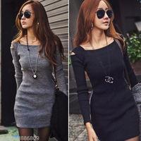 New Korea Women Unique Open Shoulder Square Neck Long Sleeve Slim Mini Dress