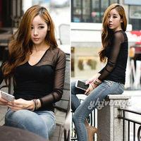 NEW Fashion Women V Neck Sheer Mesh Cotton Slim Casual Stretch Sexy TEE T Shirt