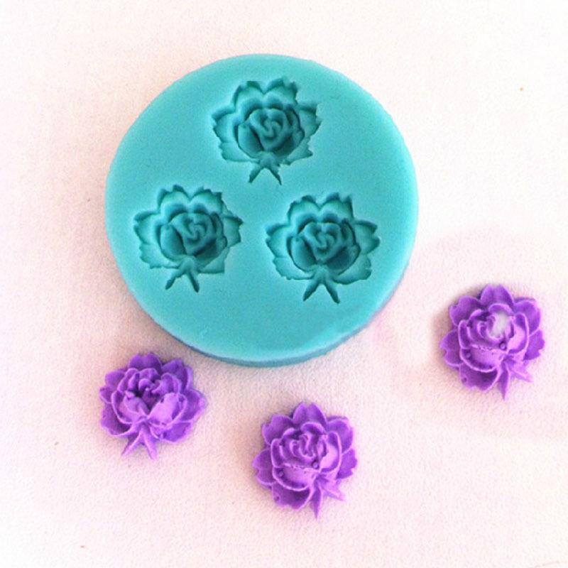 Portátil 3D Rose flores Fondant bolo de Chocolate cookies Soap Mold Tools cortador de modelagem EH #25520(China (Mainland))