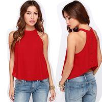2015 Fashion wholesale Women Clothes Chiffon Sleeveless Causal t shirt Women Vest tops top  Free Shipping