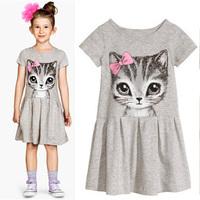 Summer 2015 Children Clothing Cute Toddler Girl Animal Print Dresses Baby Girls Princess Party Dress Short Sleeve Kids Costumes