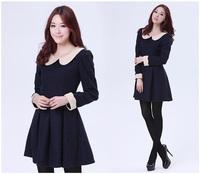 Women Cute Plus Size S-2XL Polka Dots Long Sleeve Peter Pan Collar Blue Dress Free Shipping 917