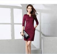 European brand women dress Three-quarters sleeve V-neck dress women OL dress for women