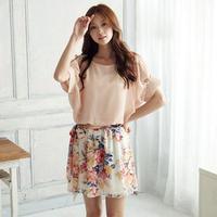 Promotion! New Dress Summer Ladies Chiffon Dress Women's Short Sleeve Flower Mini Dress White/Pink BD023