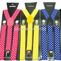 "BD006--50pcs/lot 1Inch Wide 9 Colors ""Polka Dot"" pattern Unisex Suspenders Clip-on Braces Y- black Elastic Suspender"