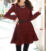 Korean hot new temperament lace flounced Slim woolen dress bottoming women
