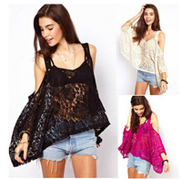 New Arrivals 2015 Women Lace Blouses Blusas DeRenda Wide Straps blusa renda Short-Sleeved Lace Word Collar Loose Women Lace Tops