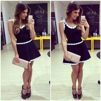 European brand women dress Round neck sleeveless dress women Mini dresses for women