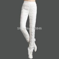 2015 New Winter European Style Fashion All Match Women Warm Thicking Black White Rose Hot Fix Rhinestone Slim Real Down Pants
