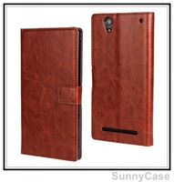 Retro Crazy Horse Wallet Leather Case for Sony Xperia T2 Ultra XM50h