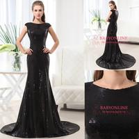 Black sequin evening dress mermaid floor length dress for evening cap sleeves dress party sweep train