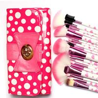 18 pcs Makeup Tools & Accessories  Makeup Brushes & Tools, in gorgeous bow-Knot Polka Dot Pink Bag Big Deal!